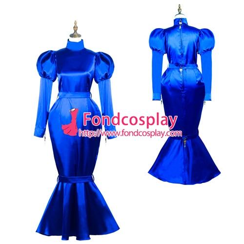 Sissy maid satin dress lockable Uniform cosplay costume Tailor-made[G3722]
