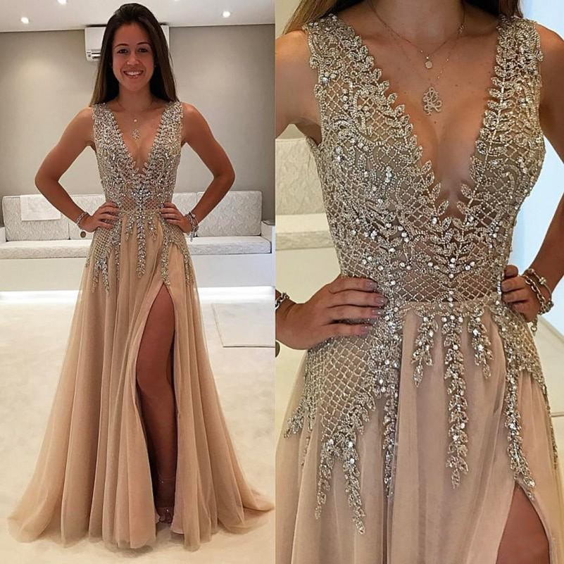 Long Champagne Prom Dresses 2019 Sexy V neck Split Evening Gowns Formal Tulle Beaded A Line Evening Dress vestidos de fiesta