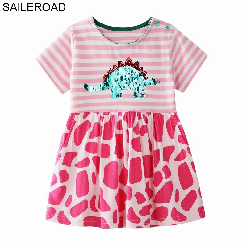 Paillettes dinossauro SAILEROAD vestido para meninas 7Year meninas roupas bordados com lantejoulas para meninas vestido infantil Vestidos
