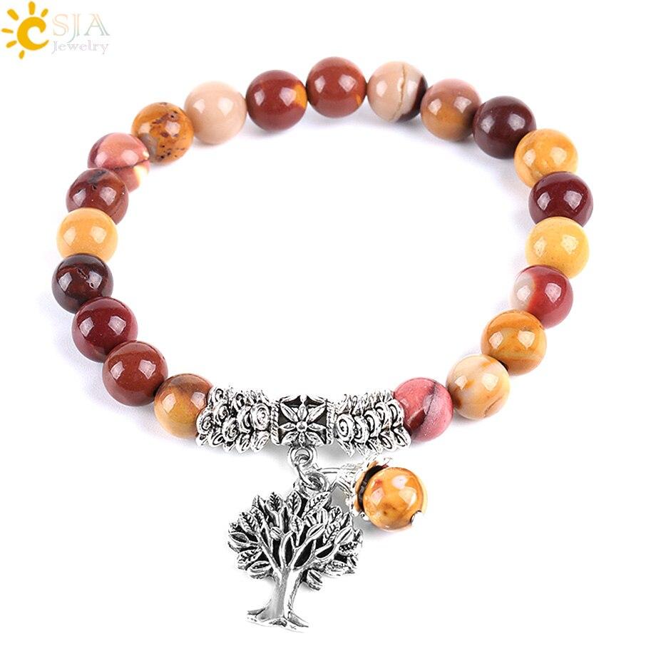 CSJA, cuentas de Arbol de la vida, brazalete para mujer, Rosario de piedra de yema de huevo Natural, cuentas Mala, yoga curativo, joyería de meditación E738