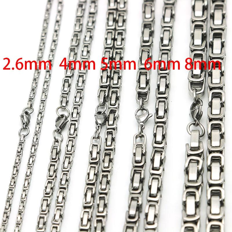 Nuevo diseño 2,6mm 4mm 5mm 6mm 8mm cadena para hombres tono plateado 316 Acero inoxidable 22 pulgadas collar bizantino