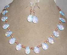 ShippingPink perla/Sri Lanka Moonstone gotas colgante Pendientes del collar caliente