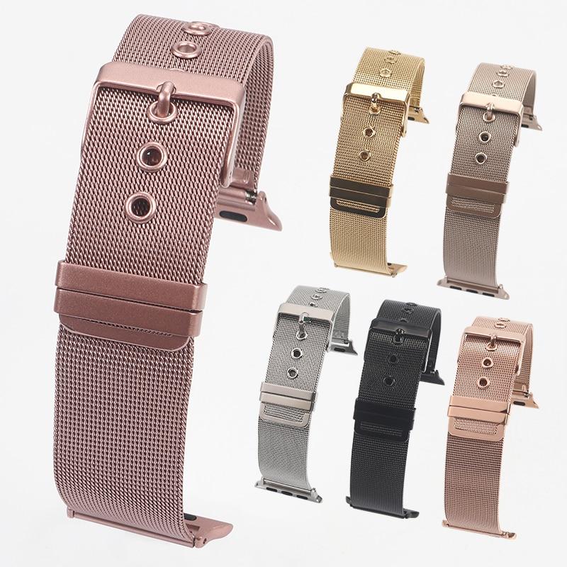 Milanese loop banda para apple watch 42mm 38mm link pulseira cinta fivela ajustável com adaptador para iwatch série 3 / 2