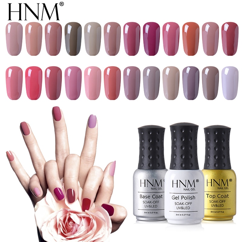 HNM 8ml Pure Color Gel Nail Polish UV LED Soak OffSemi Permanent Top Base Coat Gel Primer Varnish Gelpolish Gellak