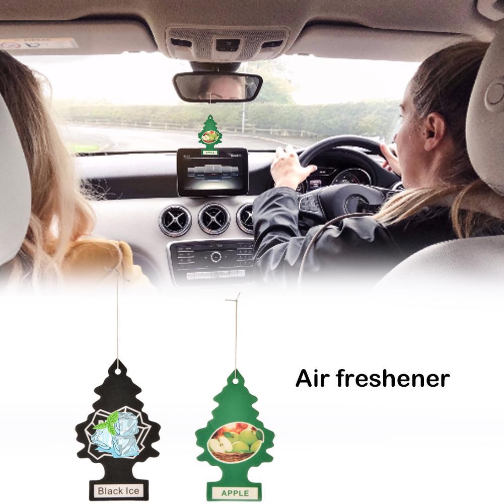 10pcs/set Black & Green Mini Tree Hanging Air Freshener Car Aromatherapy Pendant Fiber Cotton Paper Car Interior Accessories