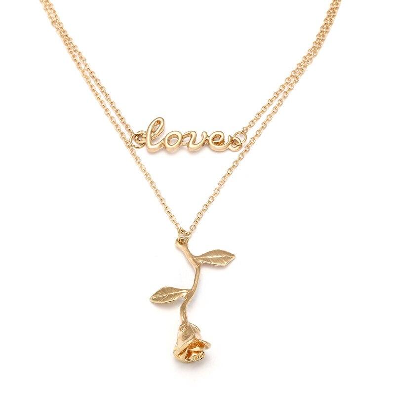 3d rosa flor colar de ouro cor link corrente colar pingente floral para as mulheres beleza ea besta jóias feminino frete grátis