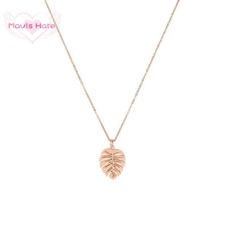 Mavis Lebre Frond Folha Philodendron Aço Inoxidável estilo da praia do Verão colar de Pingente de Colar de Corrente de Alta Qualidade à prova d água