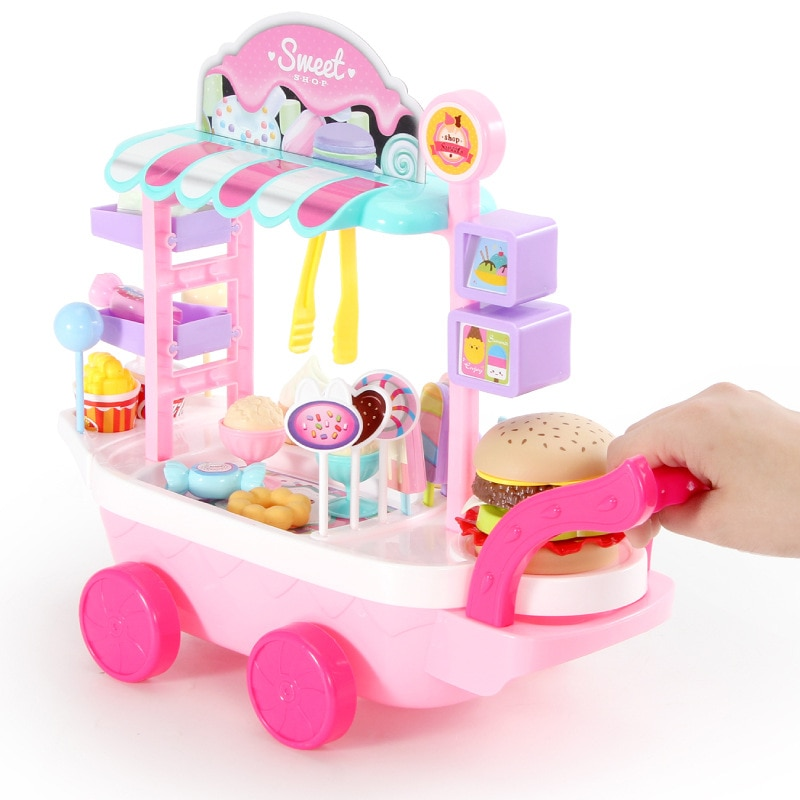 20 33 38cm simulation mini trolley girl candy car ice cream shop supermarket children play toy ice cream cart Pretend MINI Play Kitchen Toys For Children   Mini Ice cream Candy Cart House Car Rotatable Toy For Girl 2-10 years old