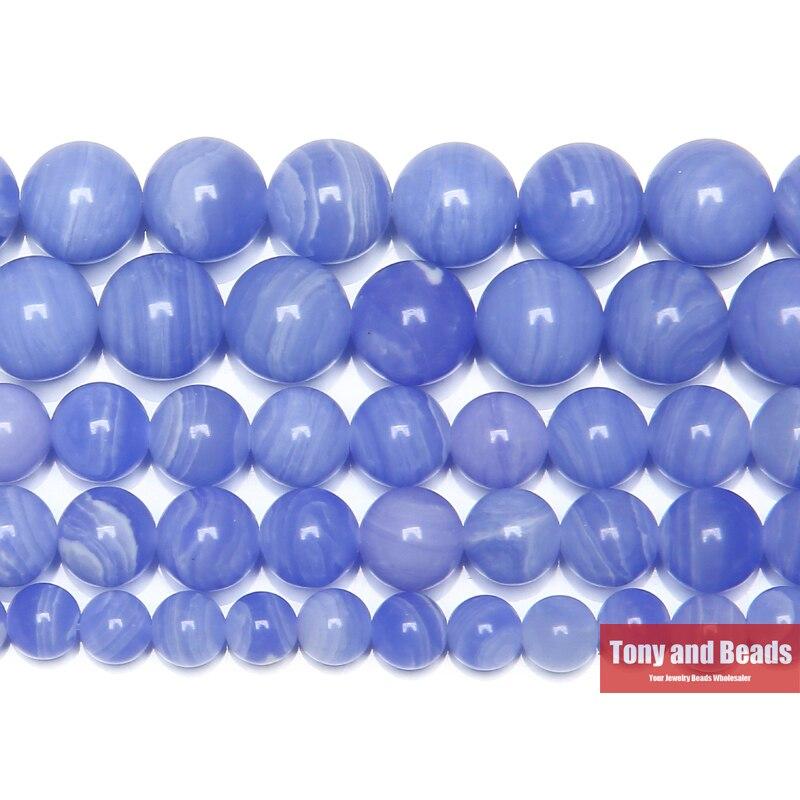 """Frete grátis pedra sintética azul rendas chalcedônia jades redonda gema contas 15 """"strand 6 8 10 12mm escolher tamanho"""