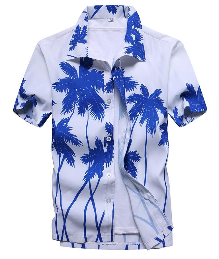 Men's Summer Hawaiian Shirts Single Breasted Light Beach Shirts Short Sleeve Breathable Plus Size XS-5XL Hawaii Shirts