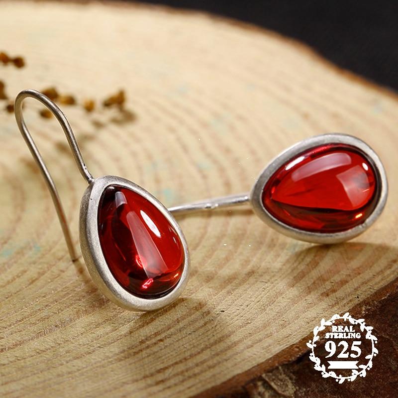 6.18 venda s925 jóias finas rubi gota brincos lágrima waterdrop artesanal do vintage natural carnelian retro rubi vermelho jasper
