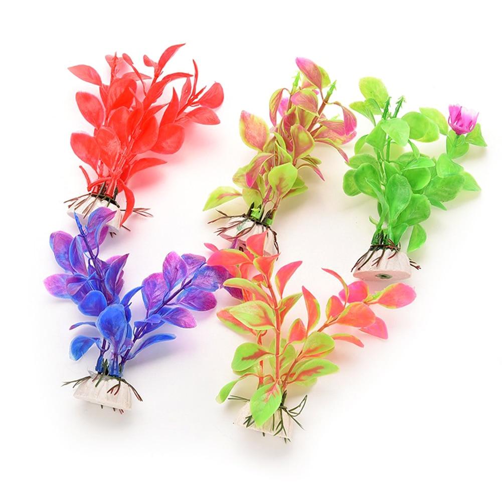 Fish Tank Grass Flower Ornament Decor Landscape Newest Plastic Aquarium Decor Multicolor Artificial Plants