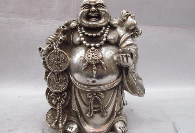 Estatua de León de bronce de coleccionista S0614 folklórico de China estatua blanca de cobre bronce plata moneda y riqueza de la suerte Maitreya Rohan B0403