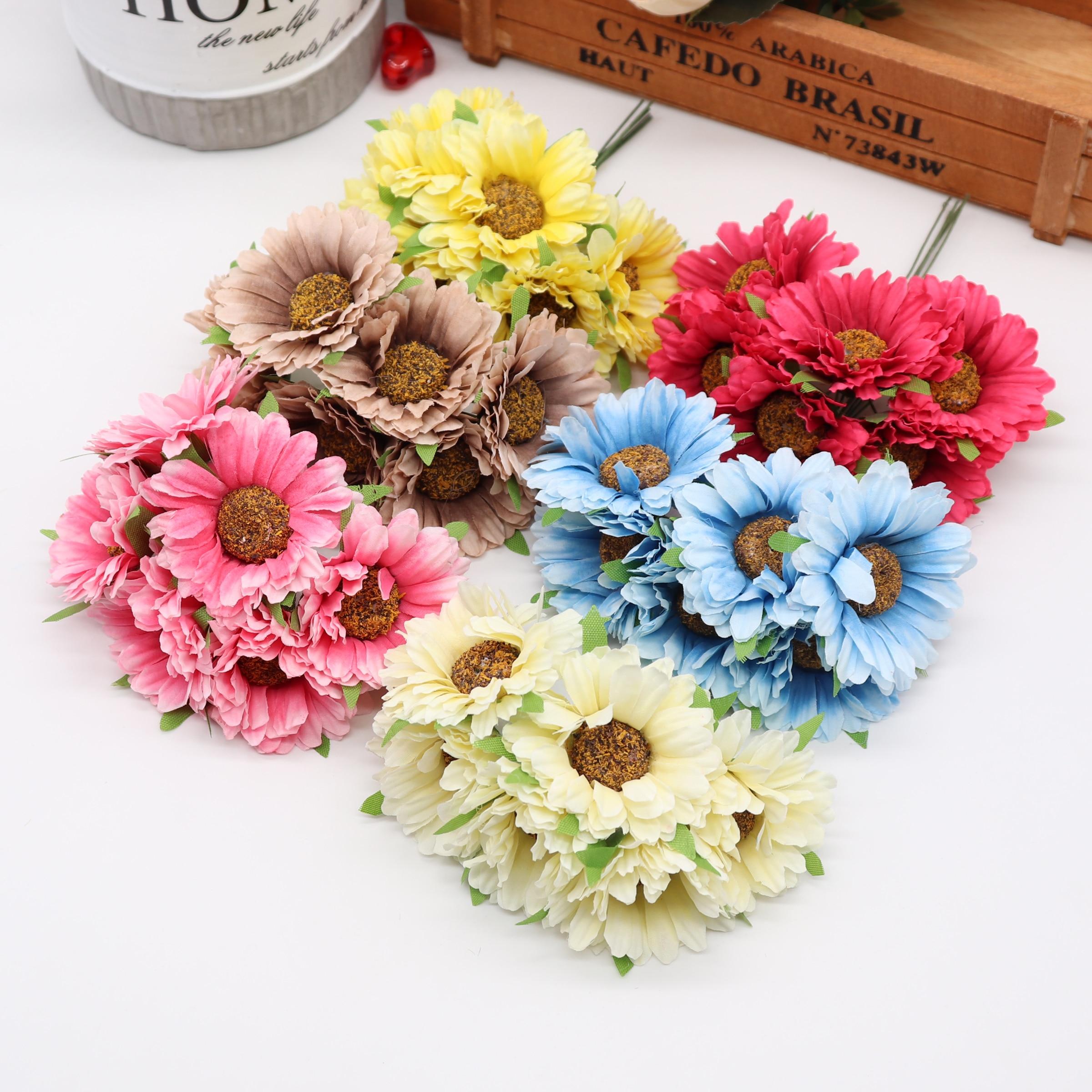 6 uds hecho a mano gerbera fashion home garden bride diy material para guirnalda boda banquete flores artificiales de decoración tijeras corona