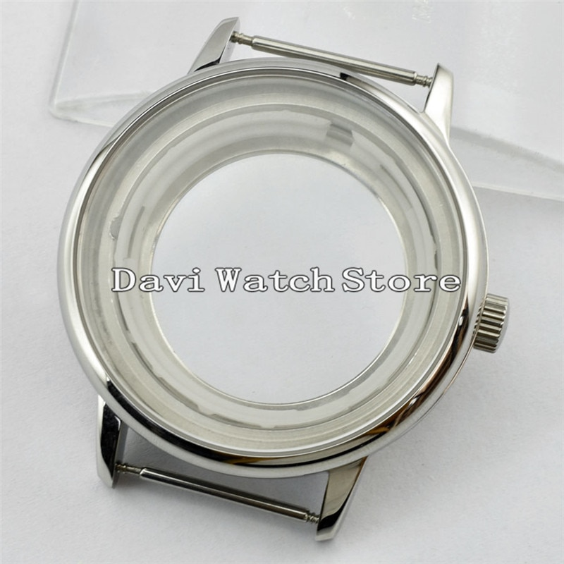 Caja de reloj de acero simple de 40mm plateado compatible con Miyota 8205/8215/821A, mingzhu DG2813 Movement A721