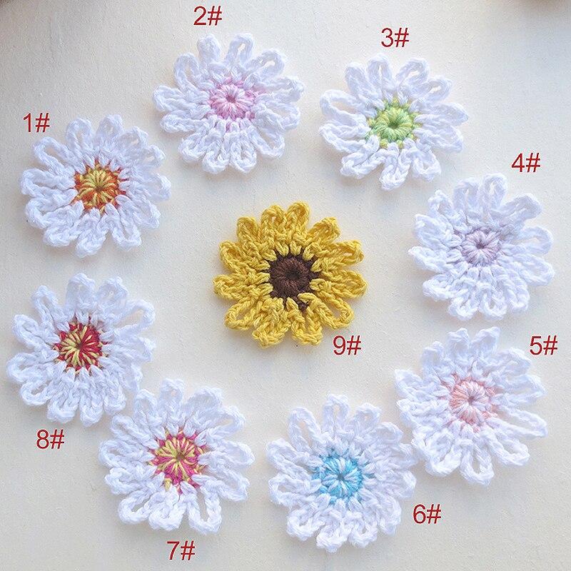 50PCS/lot 4.5cm Handmade woolen Yarn Crochet Knitted applique Patchwork DIY needlework sewing accessories Cloth paste 356