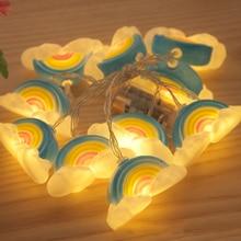 1M 10 LED String Light Outdoor Fairy Lights Garland Cartoon Rainbow Garden Patio Wedding Christmas Decor Light Chain Waterproof