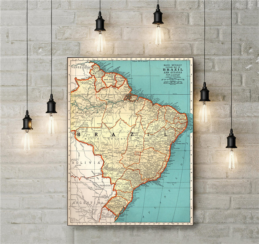 1940 Mapa de Brasil antiguo de Brasil estampado pintura pared pegatina Vintage lienzo cartel Sala dormitorio Café Bar Decoración