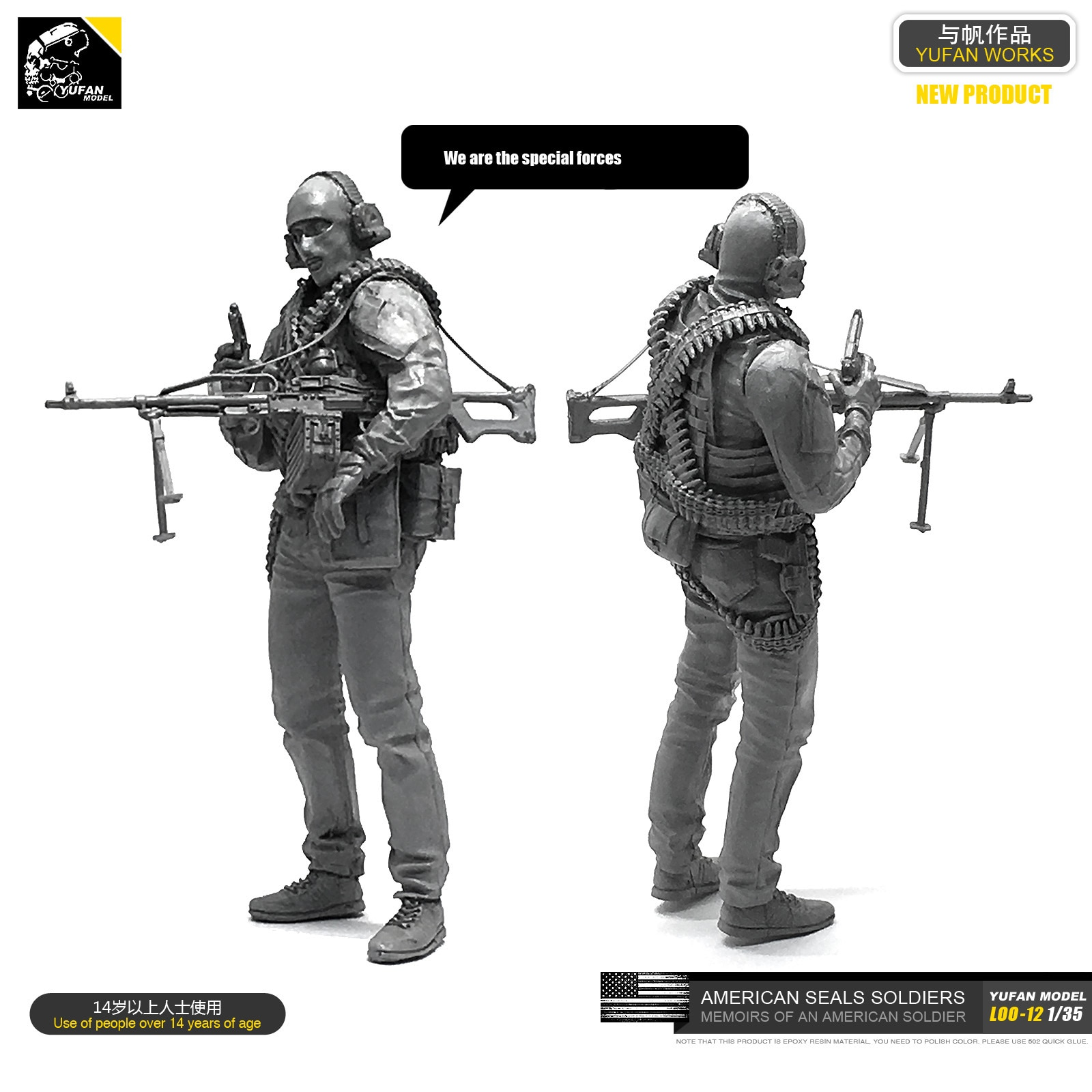 1/35 CS Anti-terrorismo Elite Máquina Artilheiro Resina Soldado LOO-12