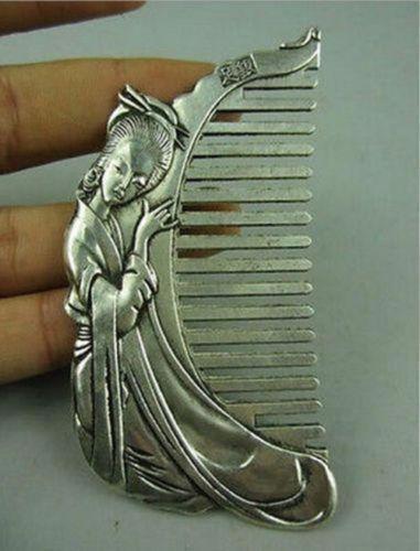 Coleccionable antiguo china Miao plata tallada a mano belleza bella peine utilizable