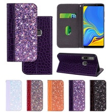 Voor Samsung Galaxy A7 2018 Case Glitter Flip Leather Wallet Telefoon Cover Voor Samsung EEN 7 2018 A750F A6 Plus a8 A9 EEN 6 8 2018 Case