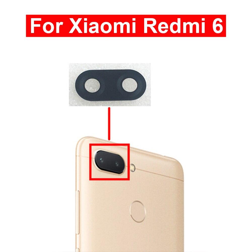2 uds para lente de cristal de cámara de Redmi 6 Lente de Cristal de cámara trasera con pegamento Reparación de piezas de repuesto para vidrio de Xiaomi Redmi 6
