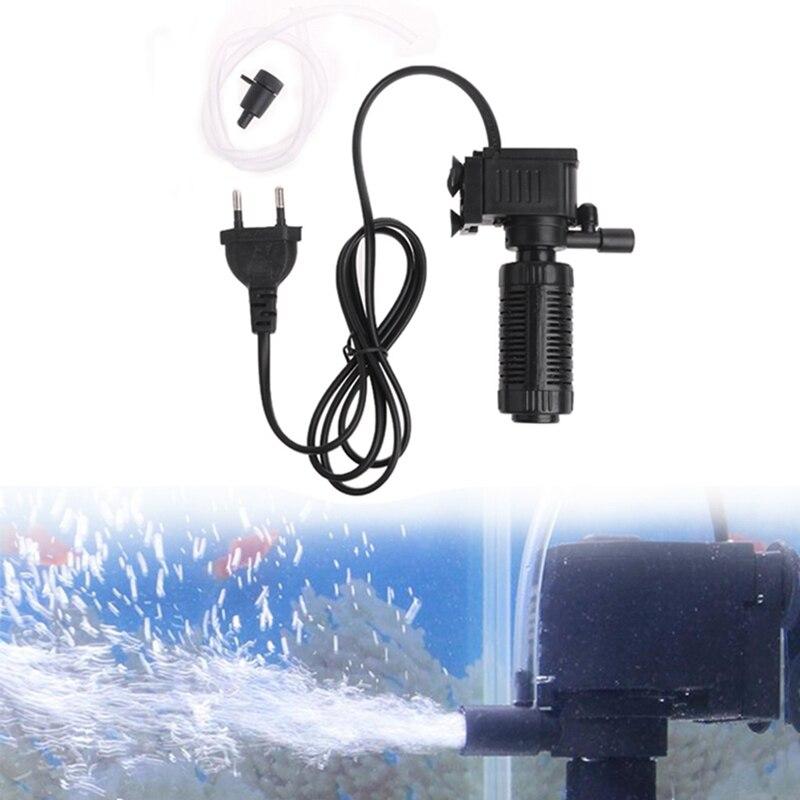 Mini 3 en 1 filtro interno acuario bomba sumergible de oxígeno Spray EU apr27_9
