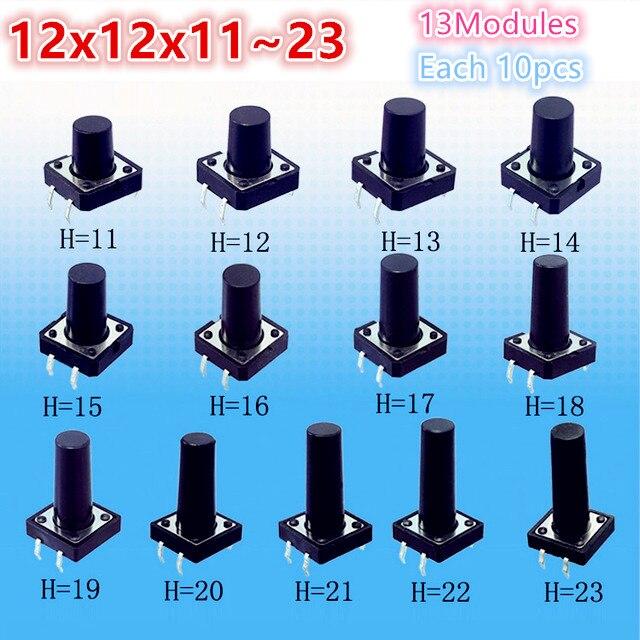 Kit de Interruptor táctil de botón táctil Micro táctil surtido de 130 Uds 12x12x11 ~ 23 DIP 4 Pin Reparación de electrodomésticos 12*12