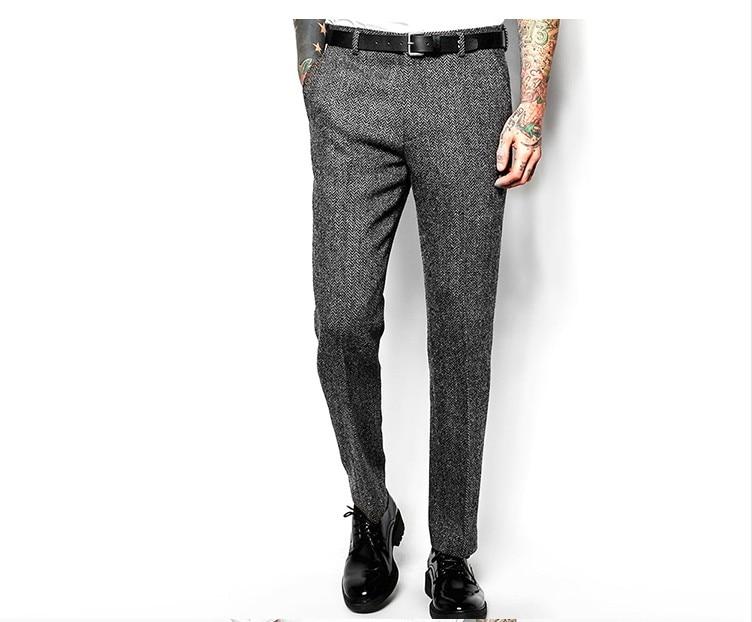 Мужские брюки из смесовой шерсти, брюки, шикарные облегающие прямые ретро-брюки в стиле смарт-кэжуал, цвет серый, модель H56