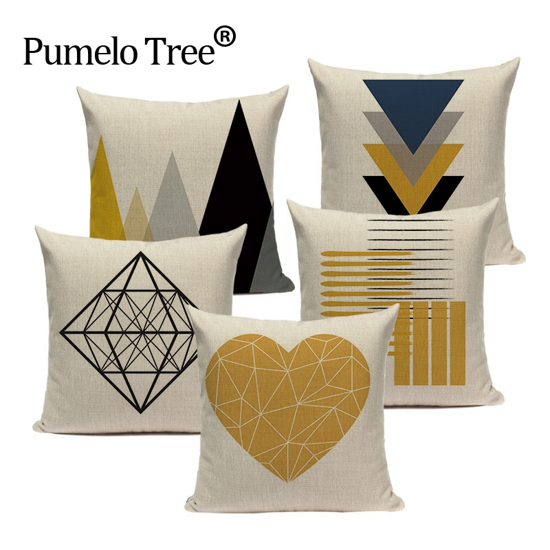 Custom Throw Pillow Covers Geometric Cushion Cover Nordic Decoration Home High Quality Yellow Deer P