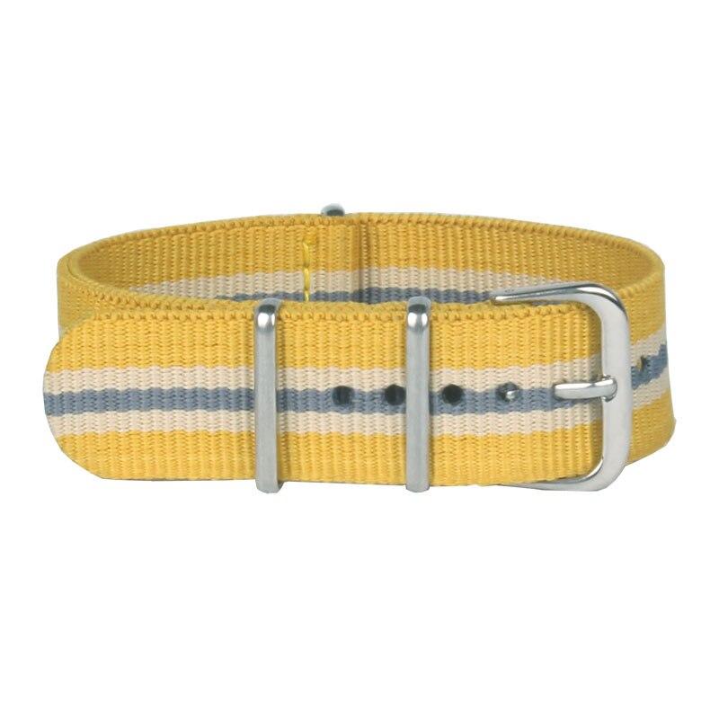 Nuevas señoras mujeres Nato 18mm ejército amarillo gris blanco Nylon tela militar reloj tejido Correa hebilla cinturón 18mm