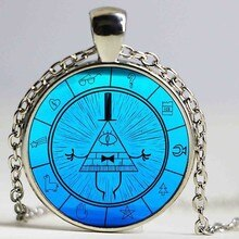 Bleu Bill Cipher de gravité automne Logo chaîne femmes tour de cou déclaration cuivre pendentif collier pour hommes robe accessoires