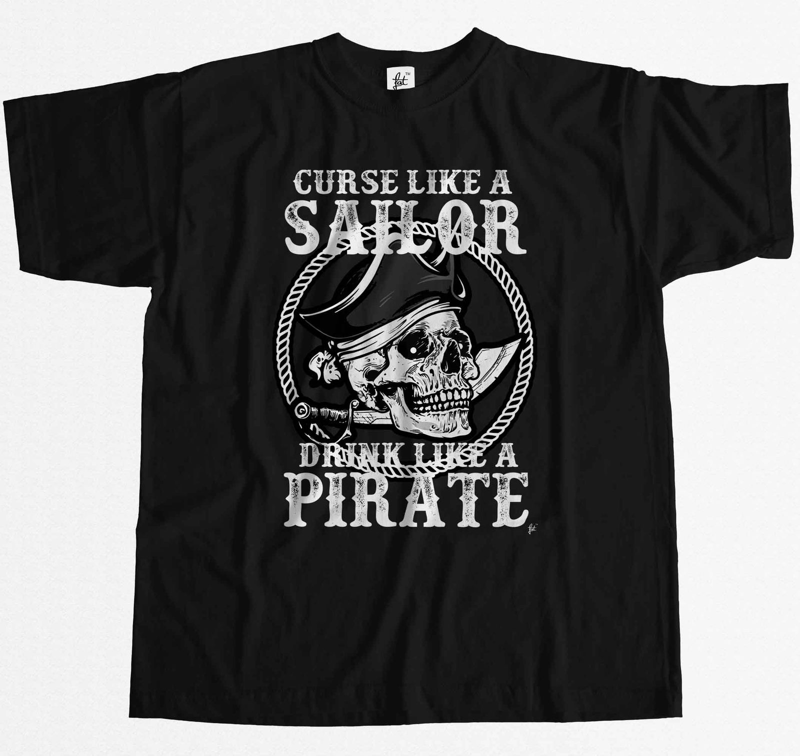 Mallas como una bebida de marinero como una espada de calavera pirata para hombre Camiseta 100% algodón de manga corta Camiseta nuevas camisetas barato al por mayor