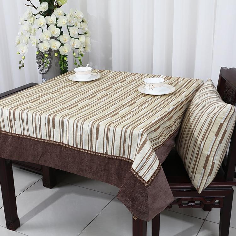 Manteles decorativos a rayas para mesa de comedor, mantel de tela de chenilla, moderna funda para mesa de Navidad