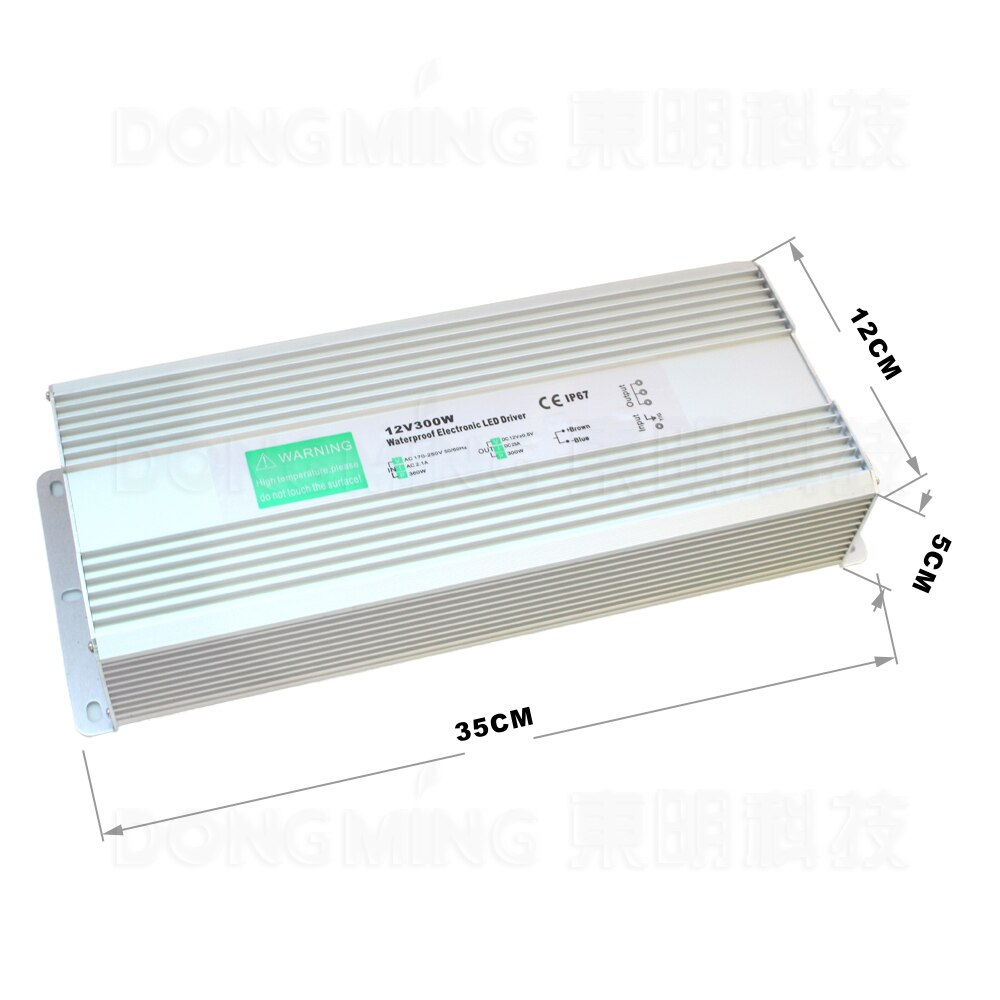 Envío Fedex 300W fuente de alimentación conmutada dc 12v 25A Controlador led al aire libre usando ip67 adaptador de potencia de transformador de iluminación impermeable