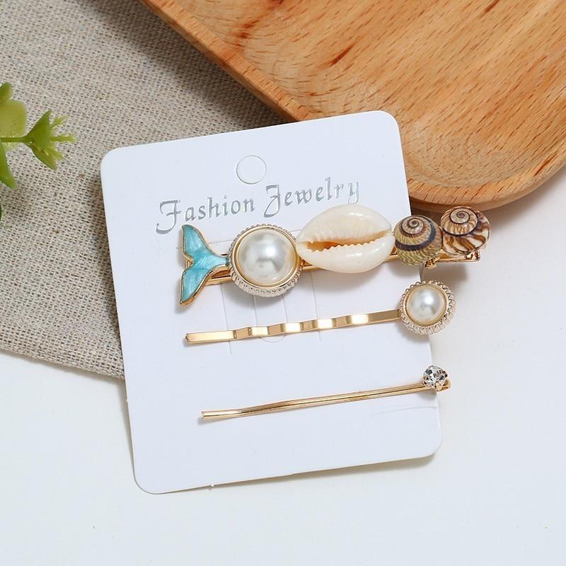 Fashion Mermaid Hair Clips for Girl Real Shell Women Barrettes Set Simulated Pearl Hair Pins Hair Accessories Hairpins Jewelry