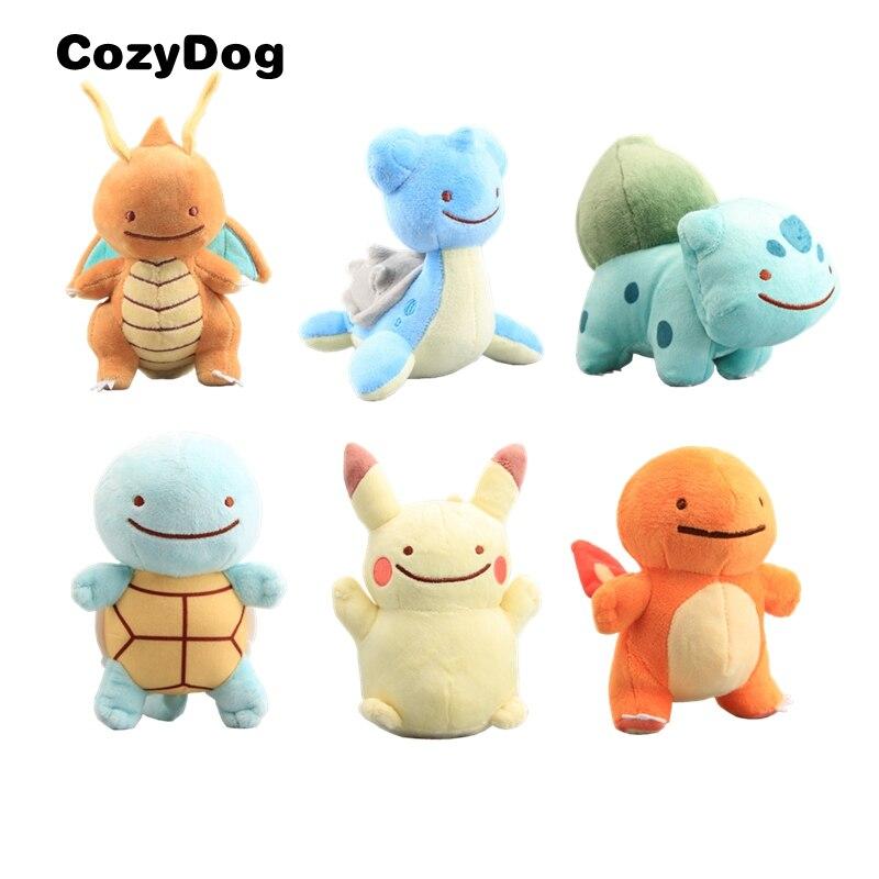 6 Styles Cartoon Dttto Pikachu Bulbasaur Dragonite Lapras Squirtle Charmander Plush Stuffed Dolls Kid Gift 14-17 cm
