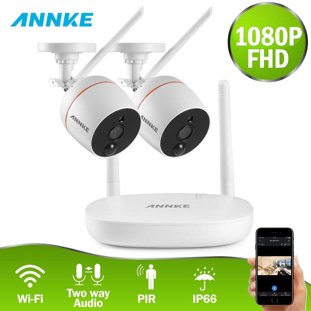 ANNKE RU Sale 4CH 1080P Wireless CCTV Security System Wi-Fi Mini NVR Surveillance Kit Wireless IP Cameras PIR SD Card Recording