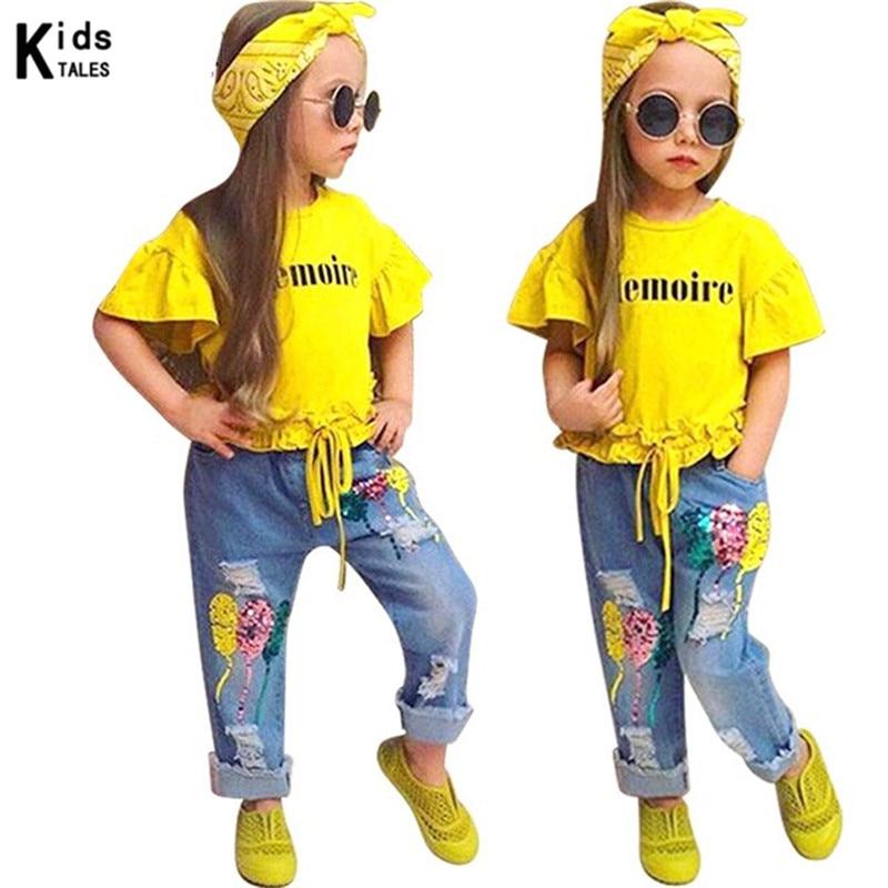 RT-250 de ropa de otoño para niños y niñas, conjuntos de ropa de moda para niño y niña, camisa de manga corta + Pantalones vaqueros + diadema 3 uds. Suit