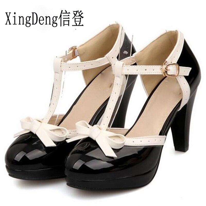 Sapatos de verão doce princesa estilo feminino salto alto bombas menina plutônio sapato couro pu tornozelo cinta lolita sapatos tamanho 33-48