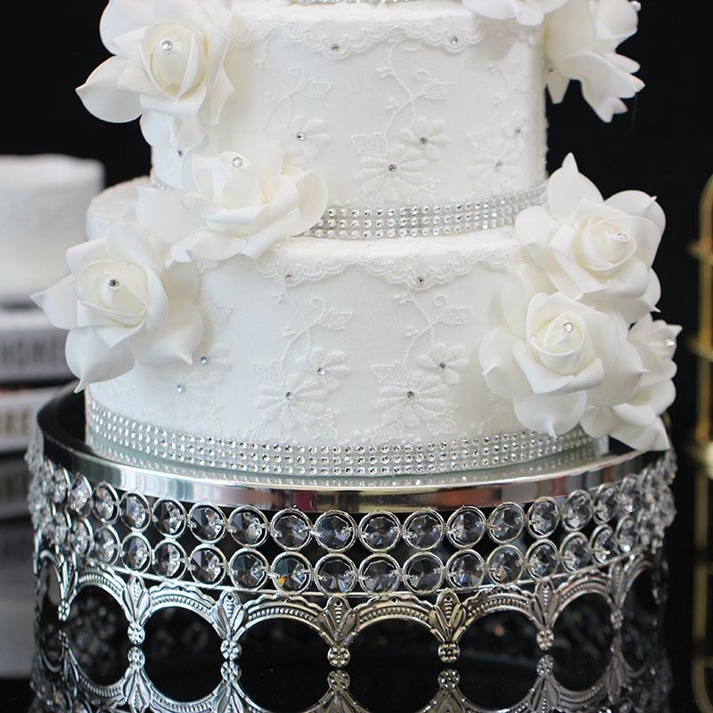 diameter30cm Metal+Crystal Mirror Glass Cake plate sliver Plate Wedding dessert home table decor cosmetic storage tray SNTP004