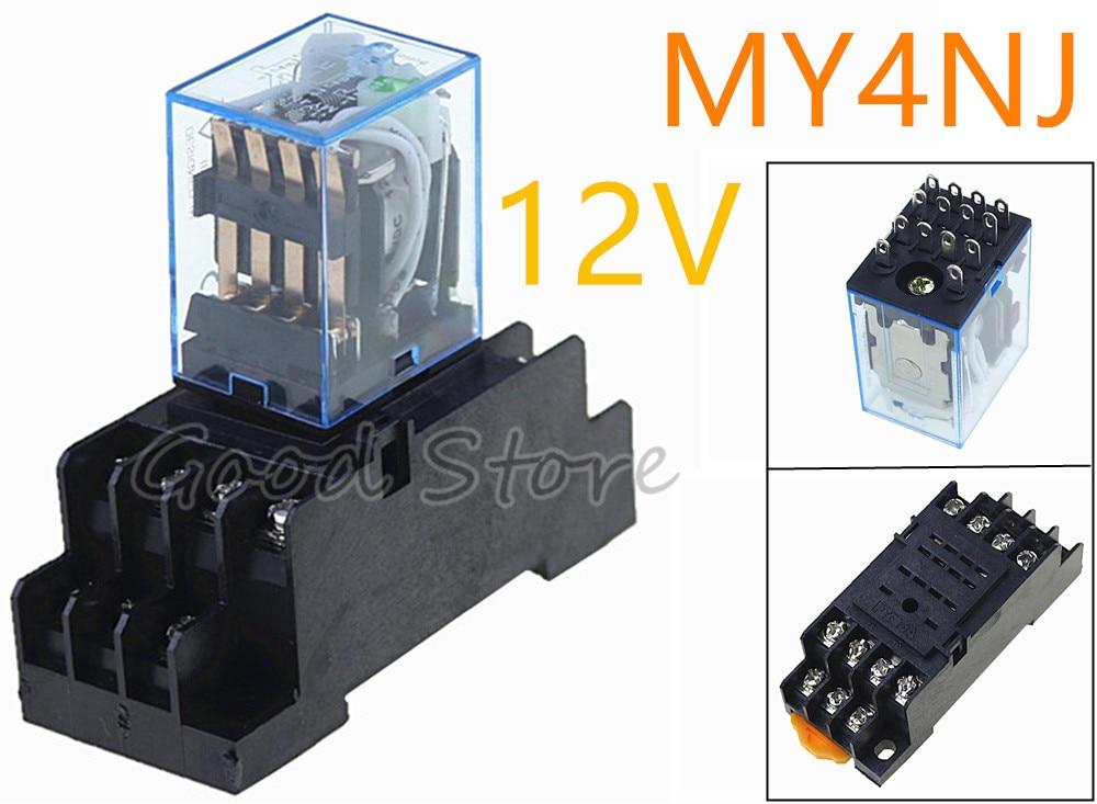 1 комплект MY4NJ 12 В AC DC электронное Микро Мини электромагнитное реле 5A 14PIN катушка 4DPDT с PYF14A гнездо