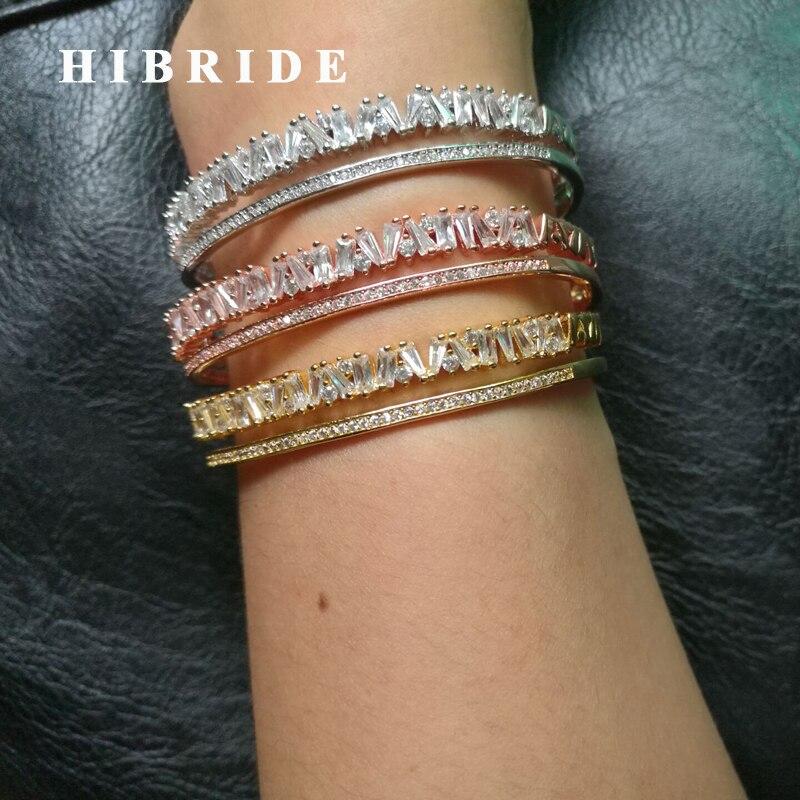 HIBRIDE New Design Dubai Jewelry Women Baguette Bangles&Bracelets Cubic Zirconia Adjustable Link Cuff Bangle For Female B-108