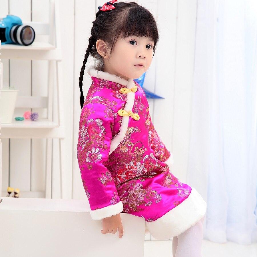 2020 Vestido de manga larga de Festival Floral para niñas vestido de invierno cálido para niñas vestidos de chaqueta para niñas Cheongsam prendas de vestir blusas