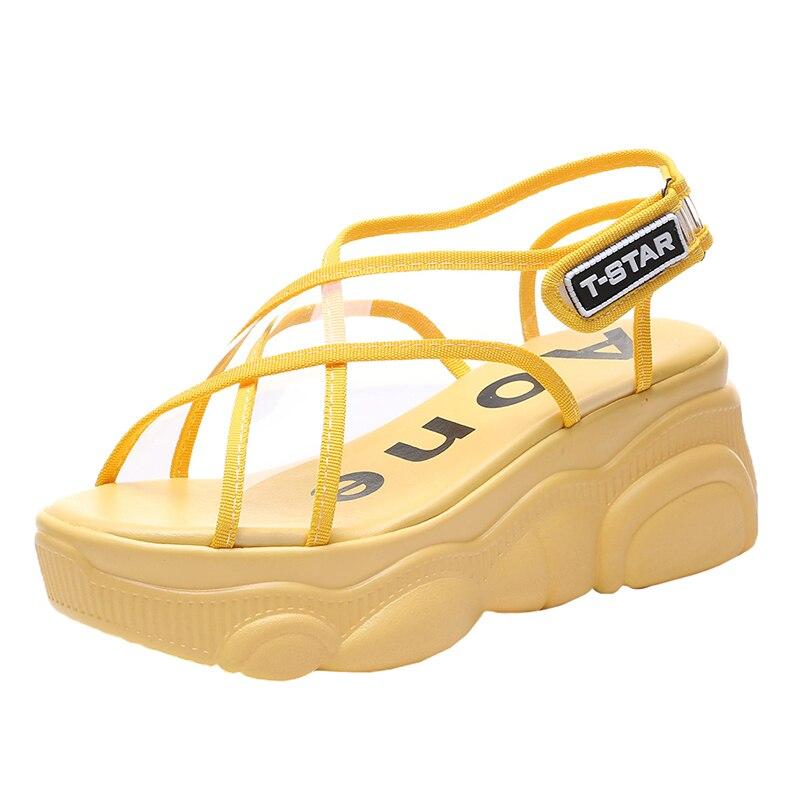 Neujge transparente de tacón alto sandalias de mujer de fondo muffin bottom Verano de 2019 nueva playa romana zapatos 177302