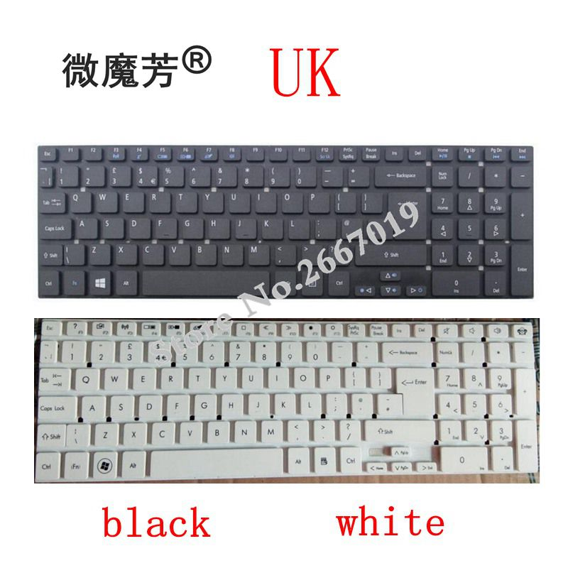 Клавиатура ноутбука Великобритании для ACER V3-531 V3-531G V3-532 V3-532G V3-551 V3-551G V3-571 V3-571G V3-572 V3-572G V3-530G