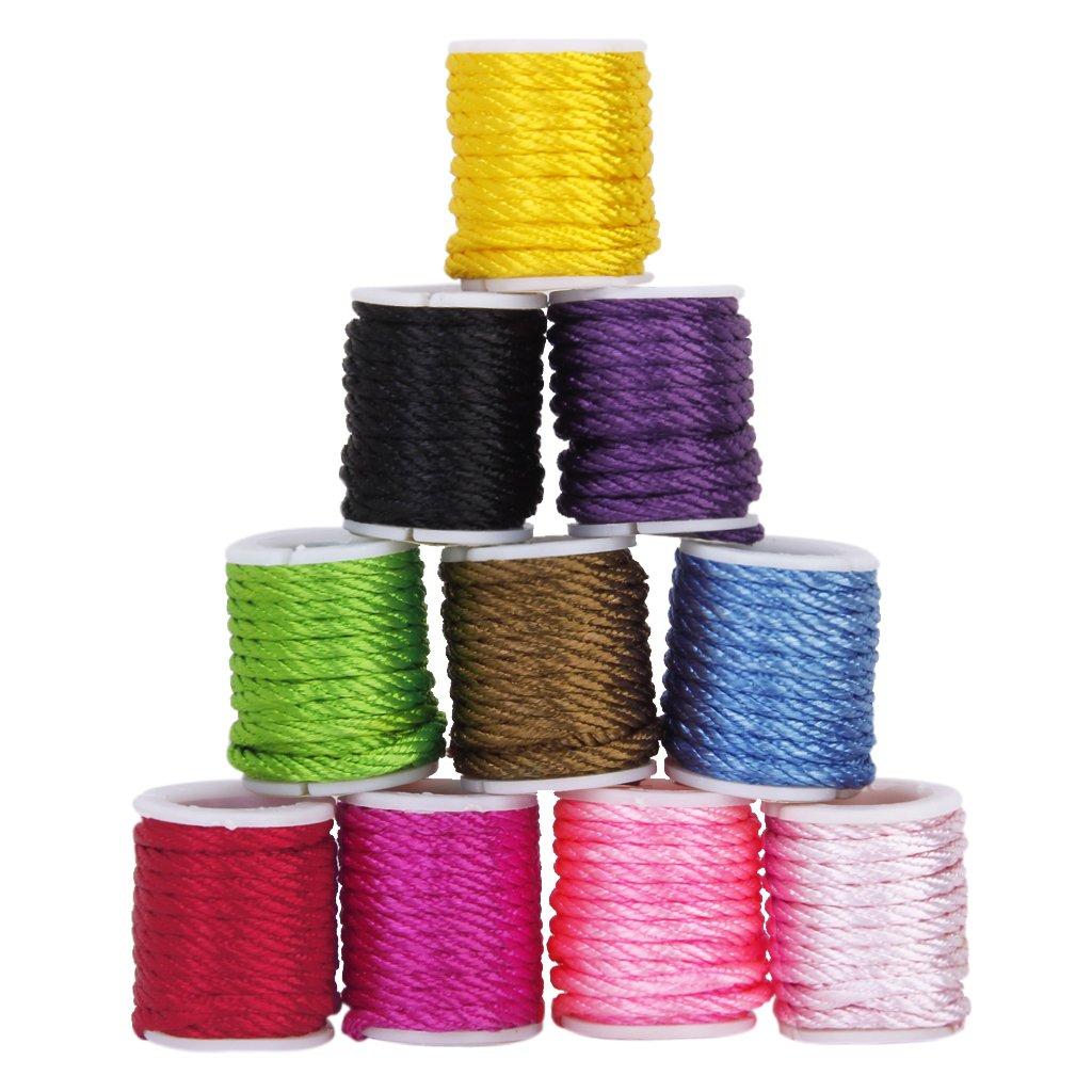 10 rollos de colores mezclados cuerda de Nylon rebordear hilo 3 mm DIY joyería