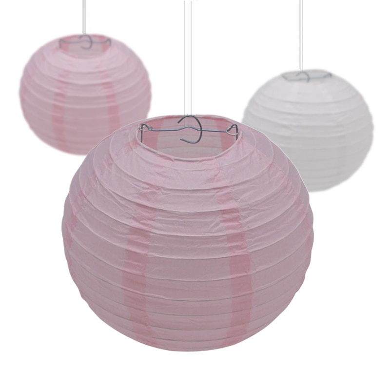 5Pcs 10-15-20-25-30cm Decorative Paper Ball Lanterns Chinese Paper Lantern Hanging Lampion for Wedding Party Festival Decoration
