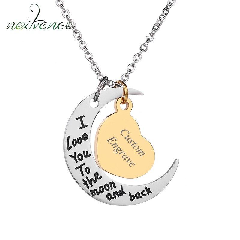 Nextvance – collier pendentif personnalisé avec nom à graver, en forme de coeur, de corne ou de lune, pour famille, cadeau, livraison directe