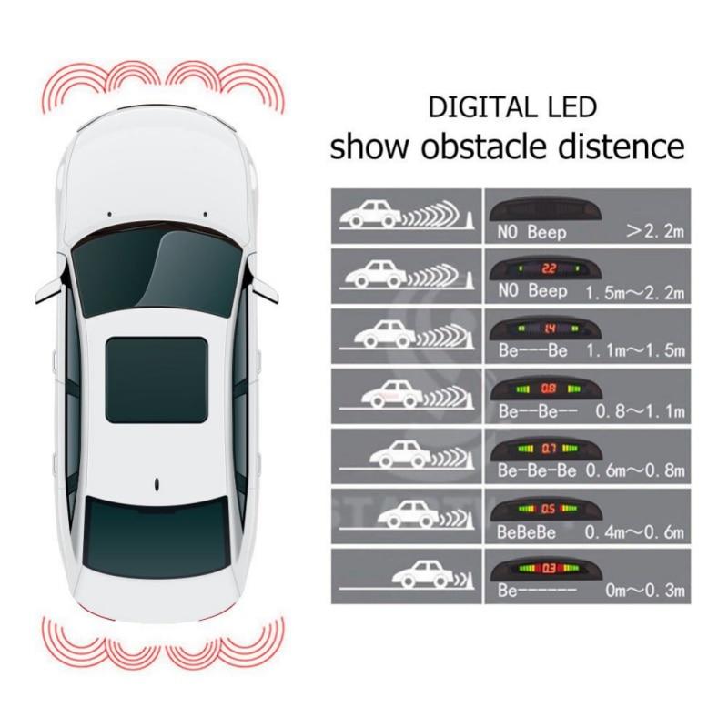 Parking Sensor Reversing Radar 4 Sensors Buzzer Reverse Backup Radar Sound Alert Indicator Probe System Avoid Collision For Auto
